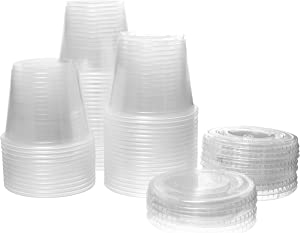 Crystalware (5.5 oz. 100 Sets) Disposable Plastic Portion Cups with Lids, Condiment Cups, Jello Shot, Souffle Portion, Sampling Cups – Clear