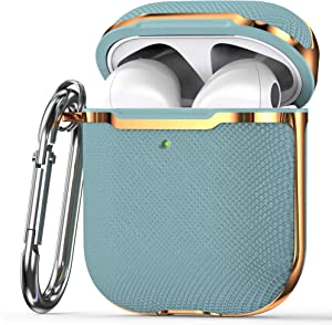 KIQ Premium Protection Case Cover Anti-Scratch Full-Body Slim and Lightweight for Airpod Charging Case Compatible with Apple Airpod 1st & 2nd Generation (Light Blue/Gold)