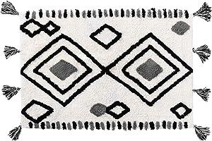 Moroccan Diamond Soft & Plush Shag Rug - Cloud Comfort, Thick Luxurious Bathroom Laundry Kitchen Rug, Cozy High Pile Washable Runner Rug, 2' x 3' Boho Tassels Mat for Floor Bedroom Living Room