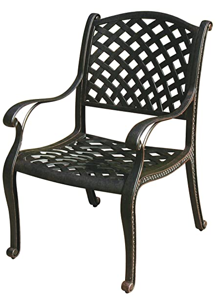 Darlee Nassau Cast Aluminum Dining Chairs With Seat Cushions, Set Of 4,  Antique Bronze
