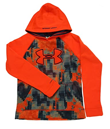 under armour youth hoodie. under armour boys\u0027 storm fleece printed big logo hoody bolt orange / blue knight youth hoodie 0