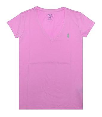 73d0790160b4 Ralph Lauren Damen V-Neck Shirt T-Shirt Rosa Größe M  Amazon.de ...