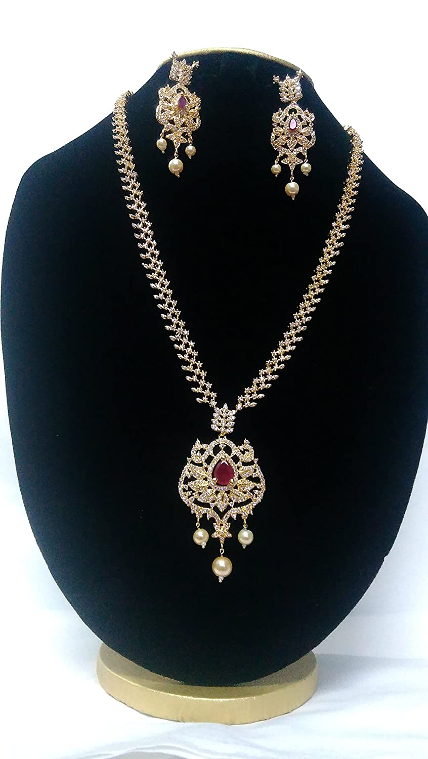 Buy Hemsiru Fashions Gold Plated Cz Crystal Jewellery Set For Women At Amazon In