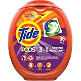 Tide PODS Laundry Detergent Liquid Pacs, Spring Meadow Scent, HE Compatible, 96 Count per pack, 77 Oz (Packaging May…