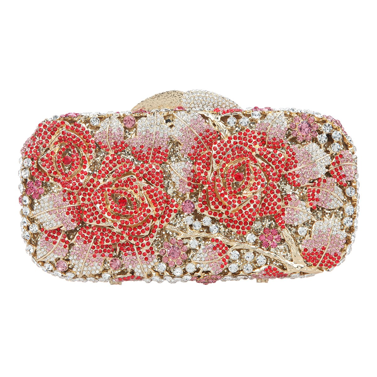 Bonjanvye Glitter Floral Clutch Purse for Girls Crystal Rhinestone Handbag UK50903AB Gold