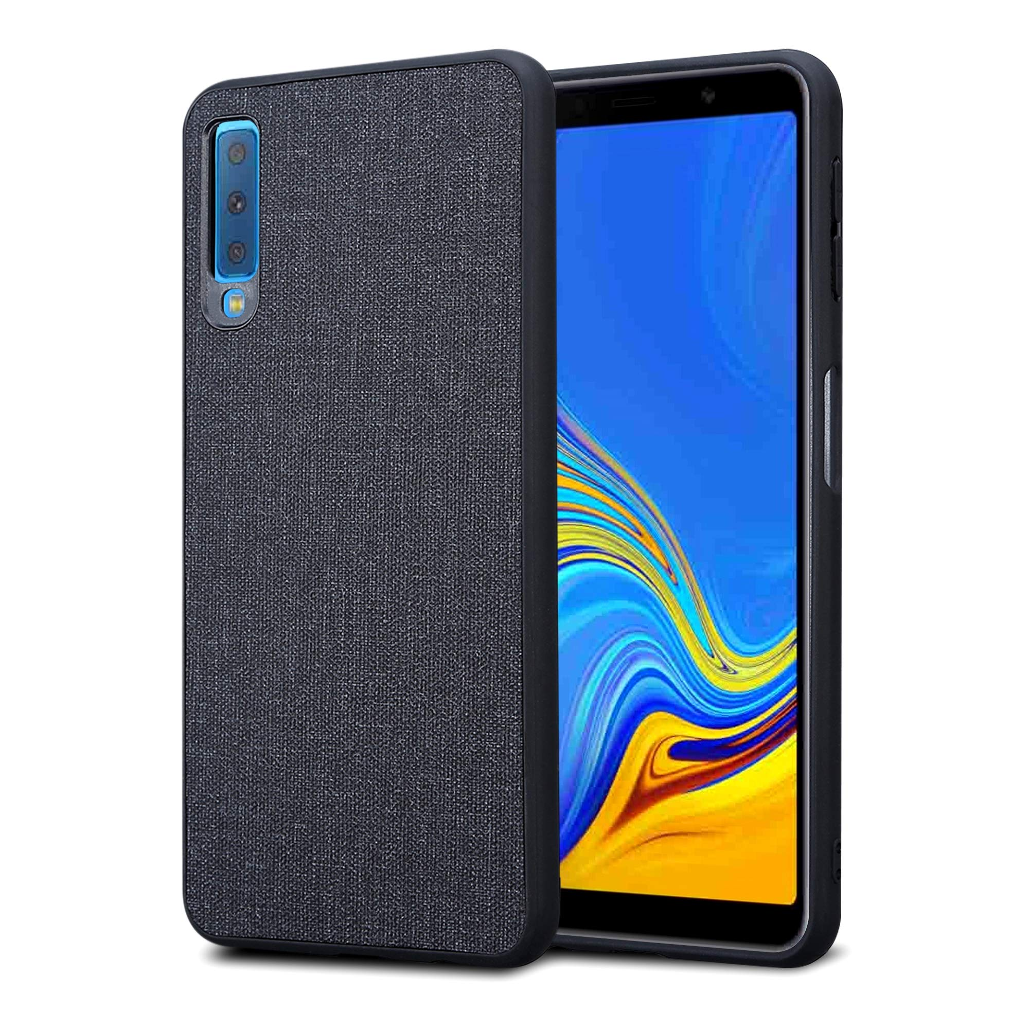 Kit Me Out World Fabric Series Case Designed for Samsung Galaxy A7 (2018), Hard (PC) Back Covered in Fabric Cloth, Black Flexible TPU Bumper Protection Shockproof Case Cover (Black)