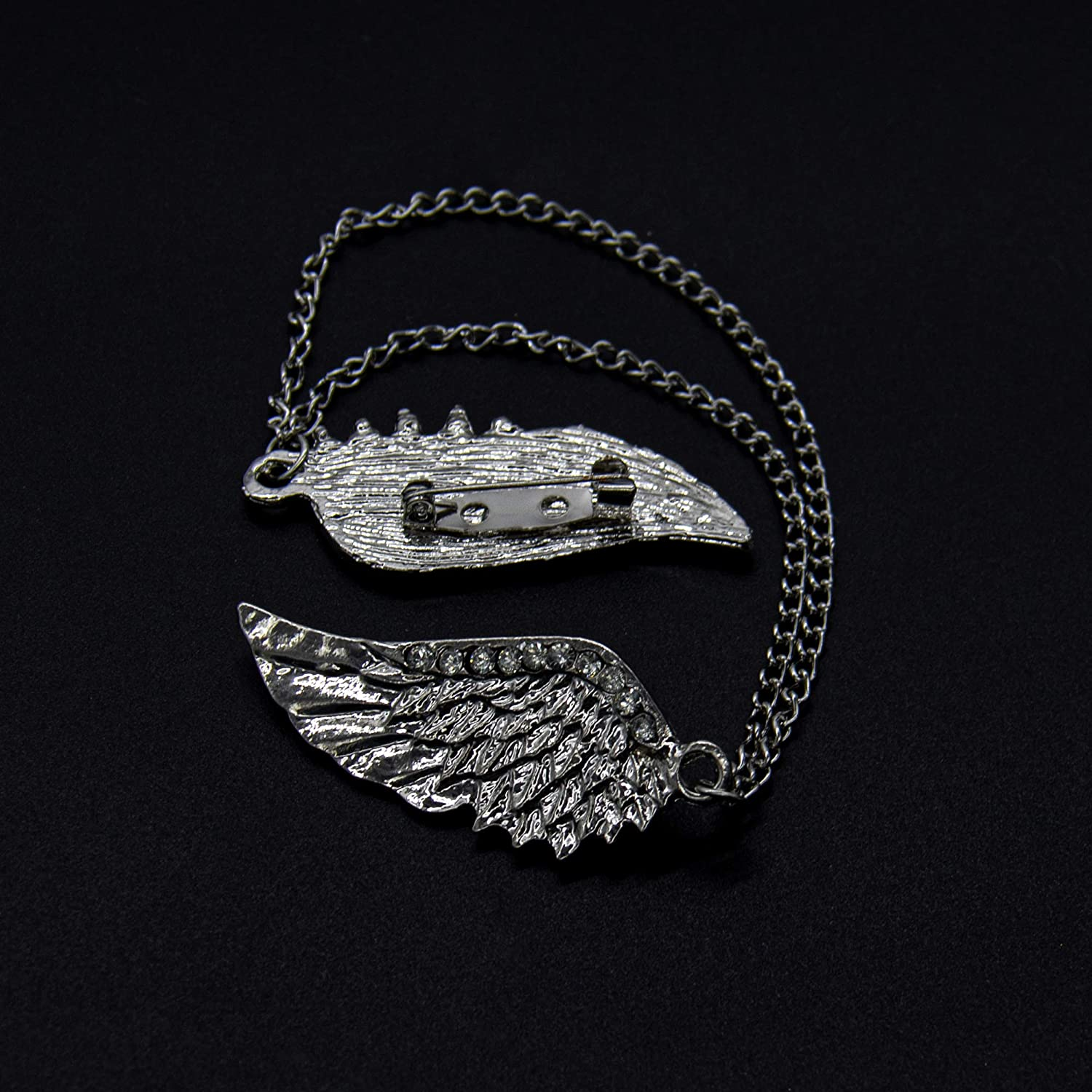 AUEAR Creative Angel Wing Brooch Lapel Pin Crystal Hanging Chain Tassel Men for Shirt Cardigan Collar Holder Decoration Accessories Silver