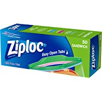 Ziploc Plastic Sandwich Bags with Secure Seal and Easy Open Tabs, BPA Free, 50 Count