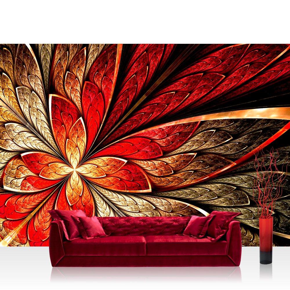Vlies Fototapete 350x245 cm PREMIUM PLUS Wand Foto Tapete Wand Bild Vliestapete - YELLOW AND ROT FLORAL ORNAMENT - Ornament abstrakt 3D Wand Rot Gelb Hintergrund - no. 115