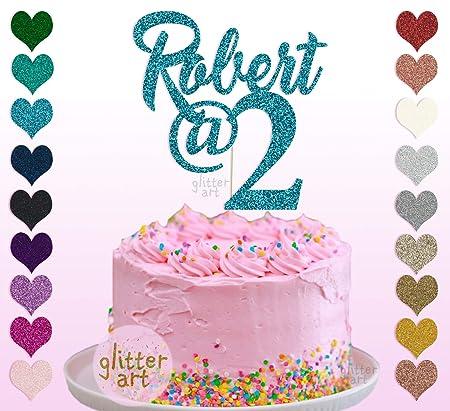 Decoración para tarta con nombre personalizable para 2 ...