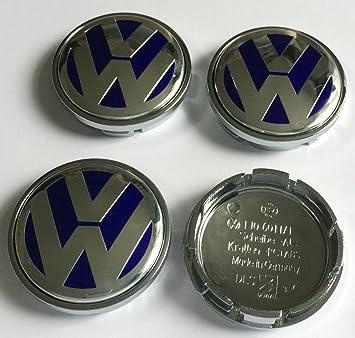 4 x Volkswagen 56 mm azul cromado Logo insignia emblema rueda centro tapacubos tapas 1j0601171 VW