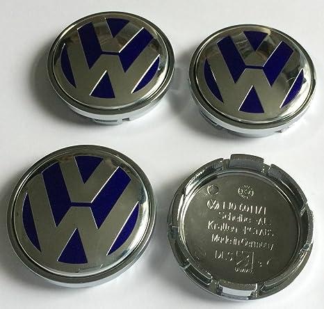 4 x Volkswagen 56 mm azul cromado Logo insignia emblema rueda centro tapacubos tapas 1j0601171 VW ...