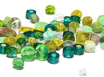 20 Crackel Glasperlen in grün 12 mm