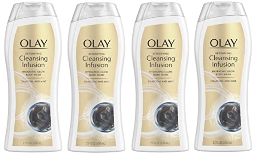 Olay Cleansing Infusion Body Wash, Charcoal + Mint, 22 Fl Oz, Pack of 4