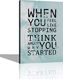 Blue Motivational Wall Art Inspirational Office Canvas Wall Art Poster Quotes Home Decor Art for Living Room