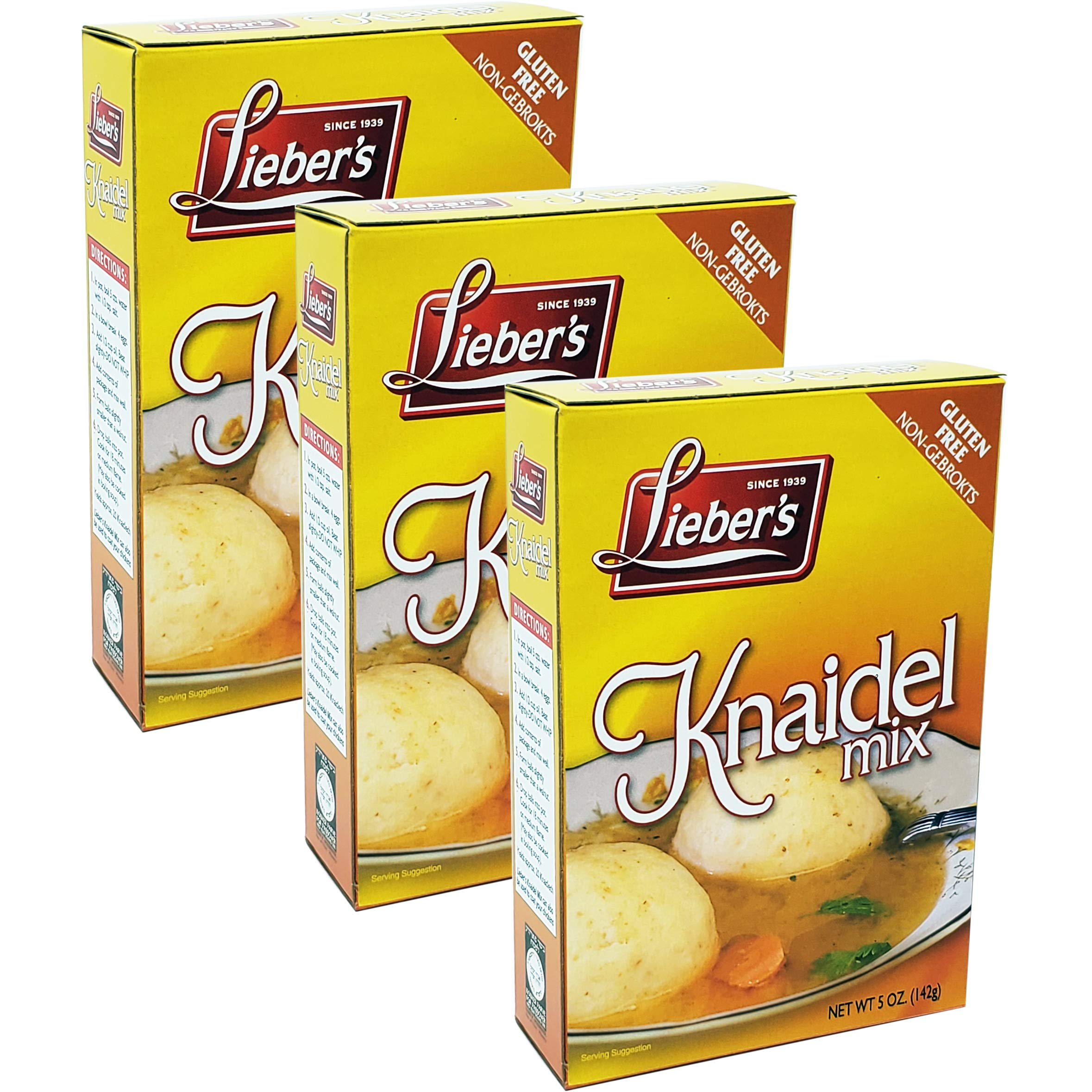 Matzo Ball Knaidel Mix, Gluten Free, Kosher For Passover, 5 Ounce Box (3-Pack) by Lieber's