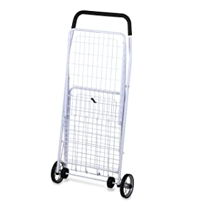 Honey-Can-Do CRT-01513 Large Folding Shopping Cart Rolling 4-Wheel Utility Wagon, White