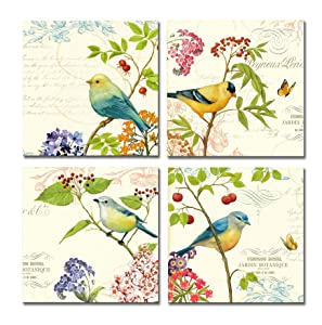SpecialArt HIGH-END FRAME Wall Art - 4pcs Birds on the Trees of Bloom and Butterfly Pictures Print on Canvas Painting Stretched and Framed for Wall Decor 12 x 12 inch x 4