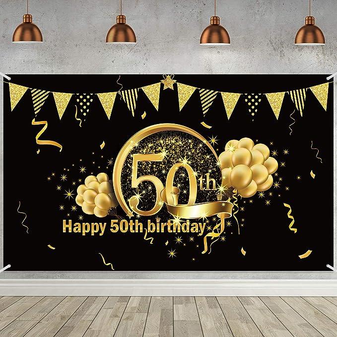 Decoración De Fiesta De 50 Cumpleaños Póster De Señal De Tela Extra Grande Para 50 Aniversario Fondo De Foto Pancarta De Fondo Materiales De Fiesta De 50 Cumpleaños Negro Dorado Amazon Es Electrónica