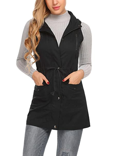 603142e415349 Zeagoo Women s Lightweight Sleeveless Vest Stand Collar Zip Up Front Anorak  Jacket