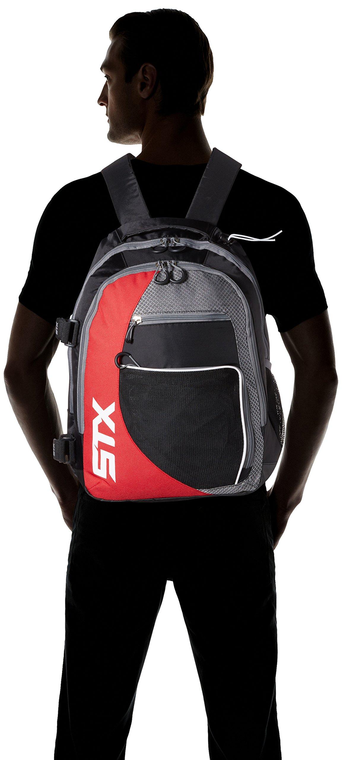 STX Lacrosse Sidewinder Lacrosse Backpack, Black/Red by STX (Image #4)