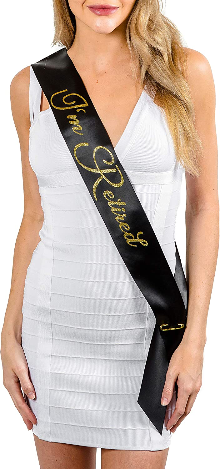 Black And Gold Glitter Personal I/'m Retired Sash Satin Retirement Party Banner