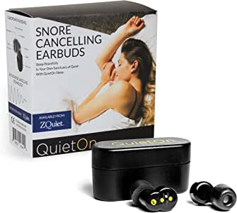 ZQUIET QuietOn Premium Snore Cancelling Wireless Earbuds – Active Noise Cancellation for Snoring and General Noise Reduction, 4x Better than Foam Earplugs, 20Hr Battery Life, Comfortable Fit for Sleep