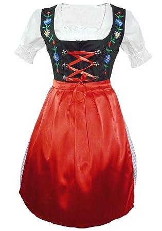 Di30 Midi Dirndl, 3 teiliges Trachtenkleid in rot schwarz mit  Blumenstickerei, Kleid mit Bluse