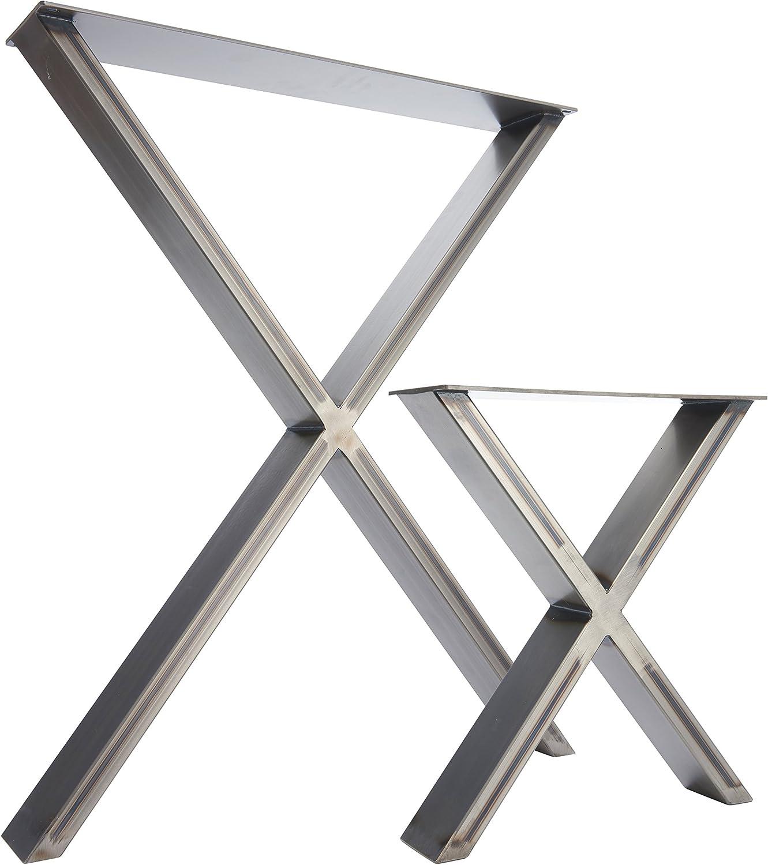 The X Design - 2 pedestales de acero para mesa/escritorio/banco ...