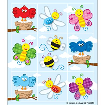 Carson Dellosa Education Spring Stickers | 1-inch x 1-inch, 216ct, Multi, Model:168048: Carson-Dellosa Publishing: Office Products