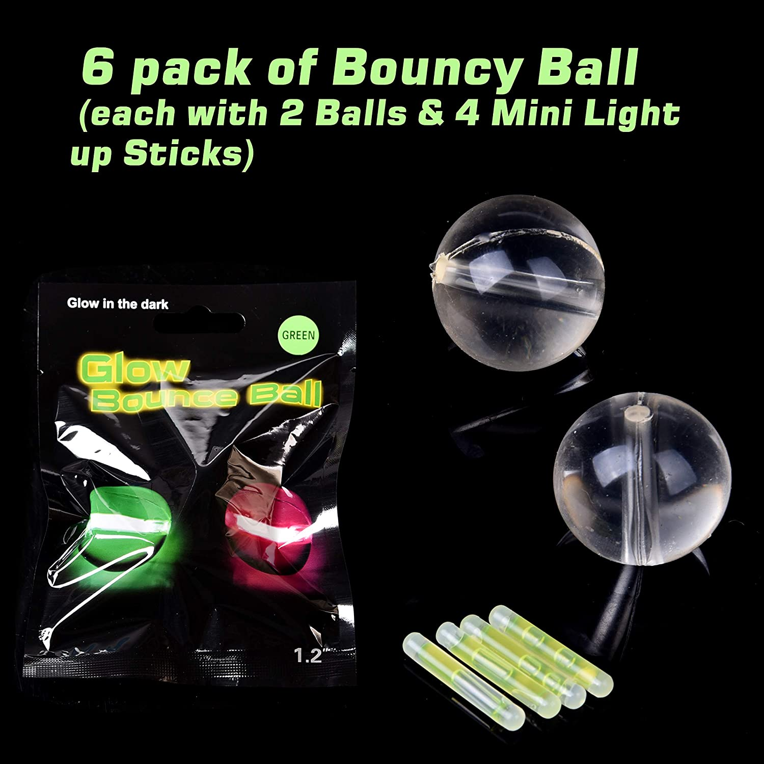 Easter Egg Fillers Including Bouncy Balls, Spinning Tops and Small Glow Sticks Kids Party Favors FUN LITTLE TOYS 12 Pack Glow Sticks for Kids Prizes Easter Egg Stuffers