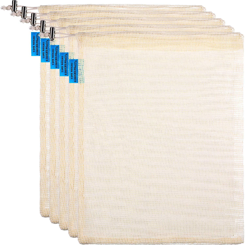 5 Stück Wiederverwendbare Produce Taschen mit Kordelzug, Mesh atmungsaktive Einkaufstaschen, Taragewicht auf Label, Natürliche Baumwolltasche (8 x 11 Zoll)