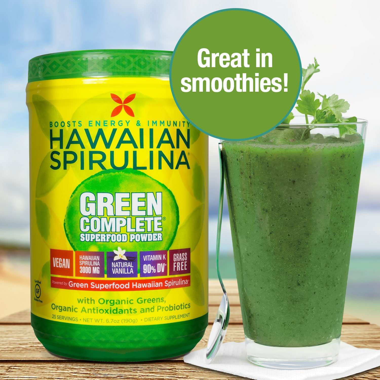 Pure Hawaiian Spirulina Green Complete Superfood Powder- Vegan, Non GMO - Natural Superfood Grown in Hawaii, 6.7 Ounce