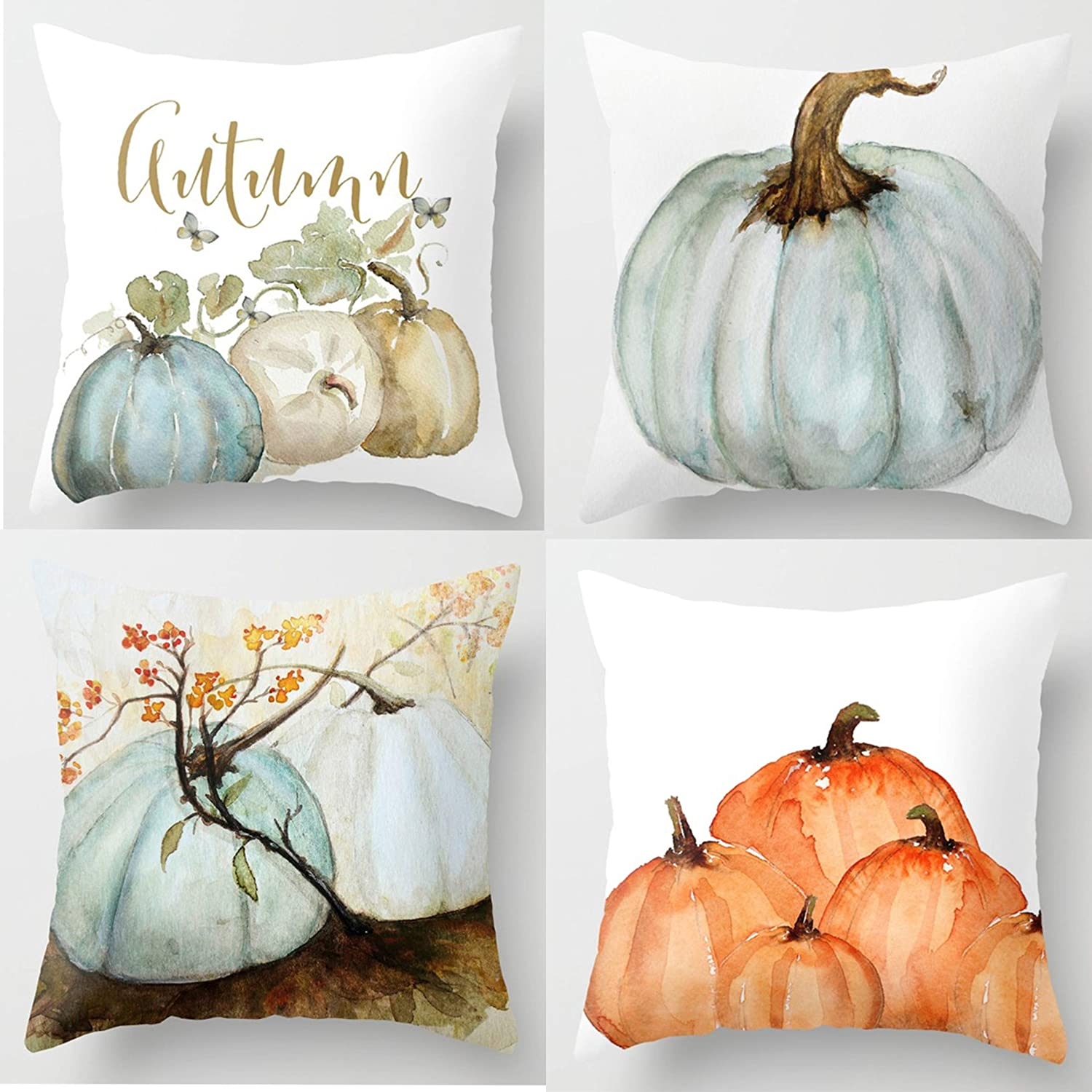 Autumn Decorations Pumpkin Pillow Covers Set of 4 Fall Decor Grateful Thanksgiving Throw Pillow Covers Cushion Cover 18 X 18 QY