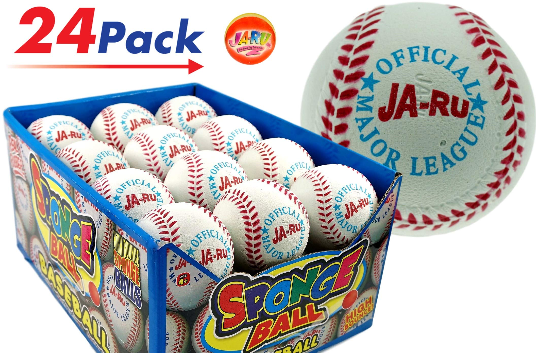 Rubber Bouncy Ball Baseball Style (Pack of 24) by JA-RU 2.5'' Hi Bounce Same Like Pinky Balls for Play or Massage Therapy. Plus 1 Small Ball. #987-24p by JaRu