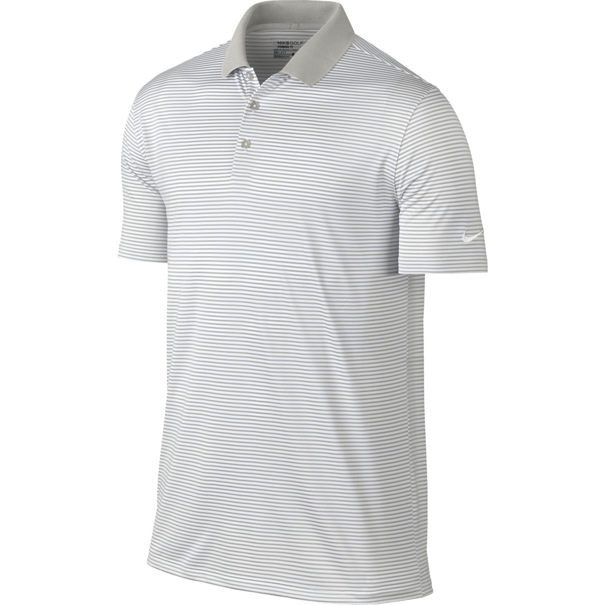 NIKE Men's Dry Victory Stripe Polo, Pewter Grey/White, Small