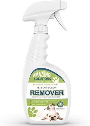 Amaziing Solutions Pet Odor Eliminator and Stain Remover Carpet Cleaner for Dog Urine and Cat Pee, Professional Strength Enzymatic Solution, Natural Enzymes for Carpet and Hardwood Floors (32oz)