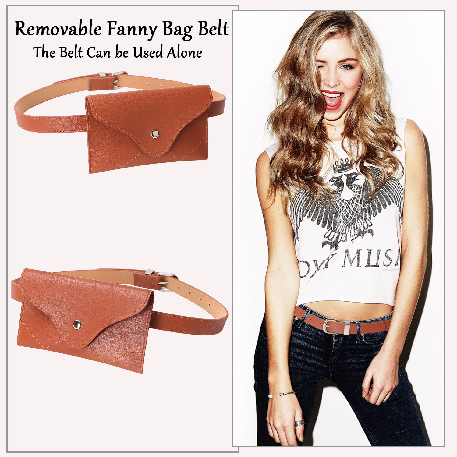 JASGOOD Womens Leather Belt Fanny Pack With Removable Belt Tassel Waist Pouch Fashion Belt Bags