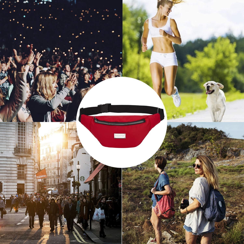 Rojo Viajes Ri/ñonera para Mujer con 3 Bolsillos con Cremallera Entrenamiento MAXTOP Festivales Casuales Morado Morado Medium /… cintur/ón Ajustable para Fiestas