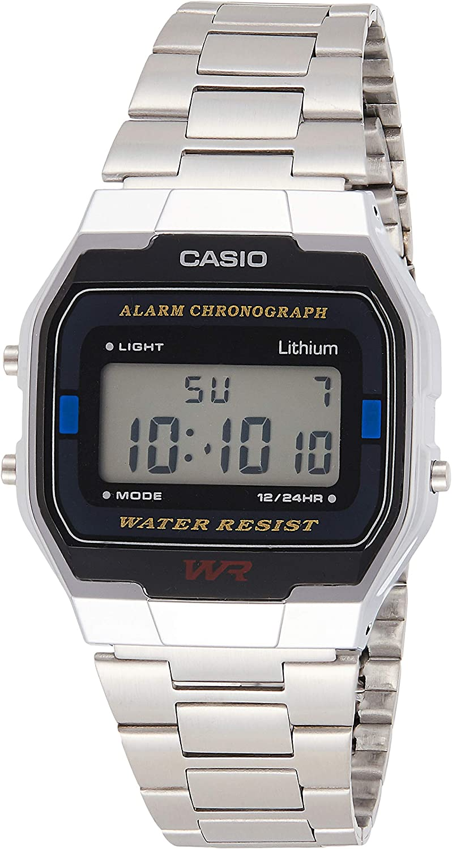 Casio Collection A163WA-1QES, Reloj Rectangular, Acero Inoxidable, Unisex, Plateado