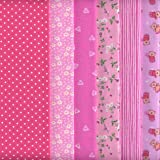 6 Coupons Tissus (Rose) | 100% coton | 46 x 56 cm chacun