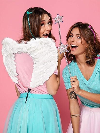 Gejoy 2 Pi/èces Ailes dange Ailes de Plumes avec des Sangles /Élastiques Ailes Costume dhalloween pour Les Femmes Filles Cosplay Blanc, Noir