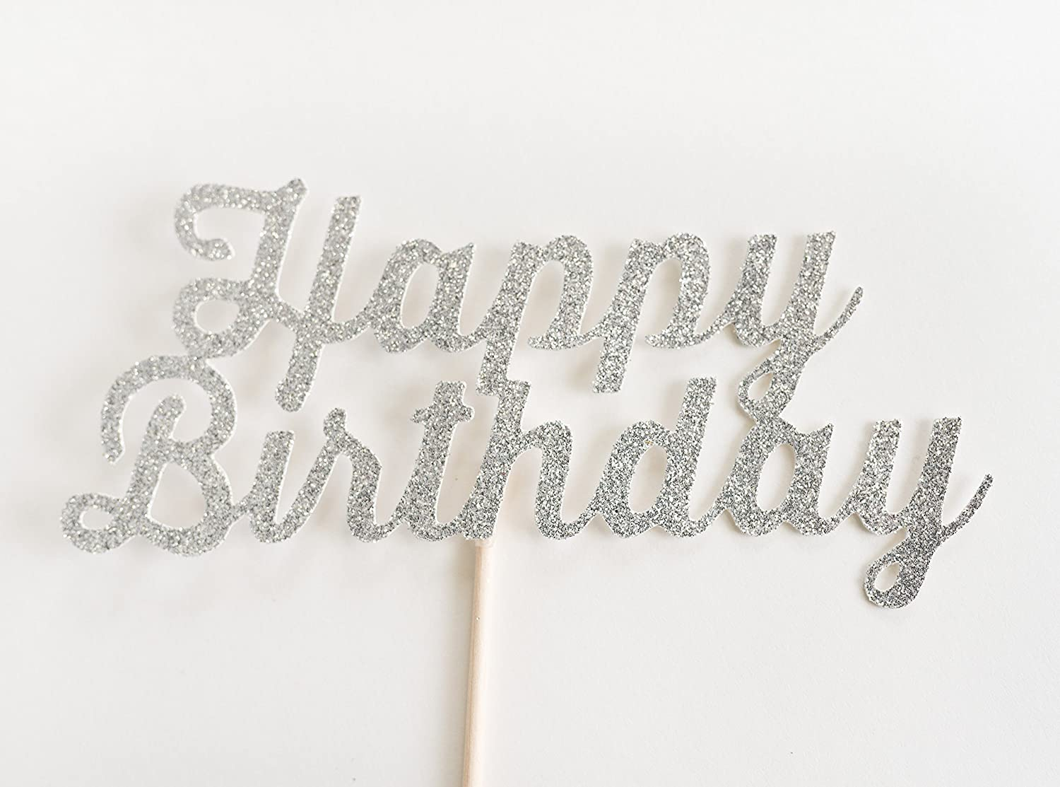 Silver Glitter 'Happy Birthday' Cake Topper, Script