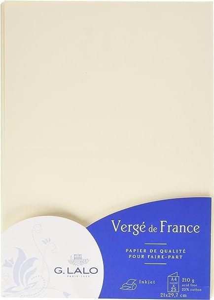 G.Lalo Papier cartonn/é 50 Feuilles A4 Verg/é 100 g 29,8 x 21 x 1,20 Ivoire