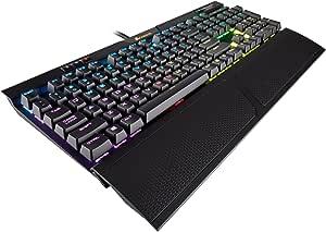 لوحة مفاتيح ميكانيكية للالعاب رابيد فاير من كورسير K70 - باضاء خلفية ليد بلون احمر - منفذ يو اس بي وتحكم بالوسائط - الاسرع والخطي - بسرعة شيري ام اكس