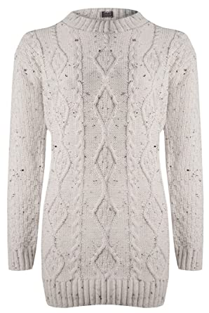 3a0ce1059d6 Womens Long Sleeve Chunky Diamond Cable Knitted Ladies Jumper Sweater Knit  Top