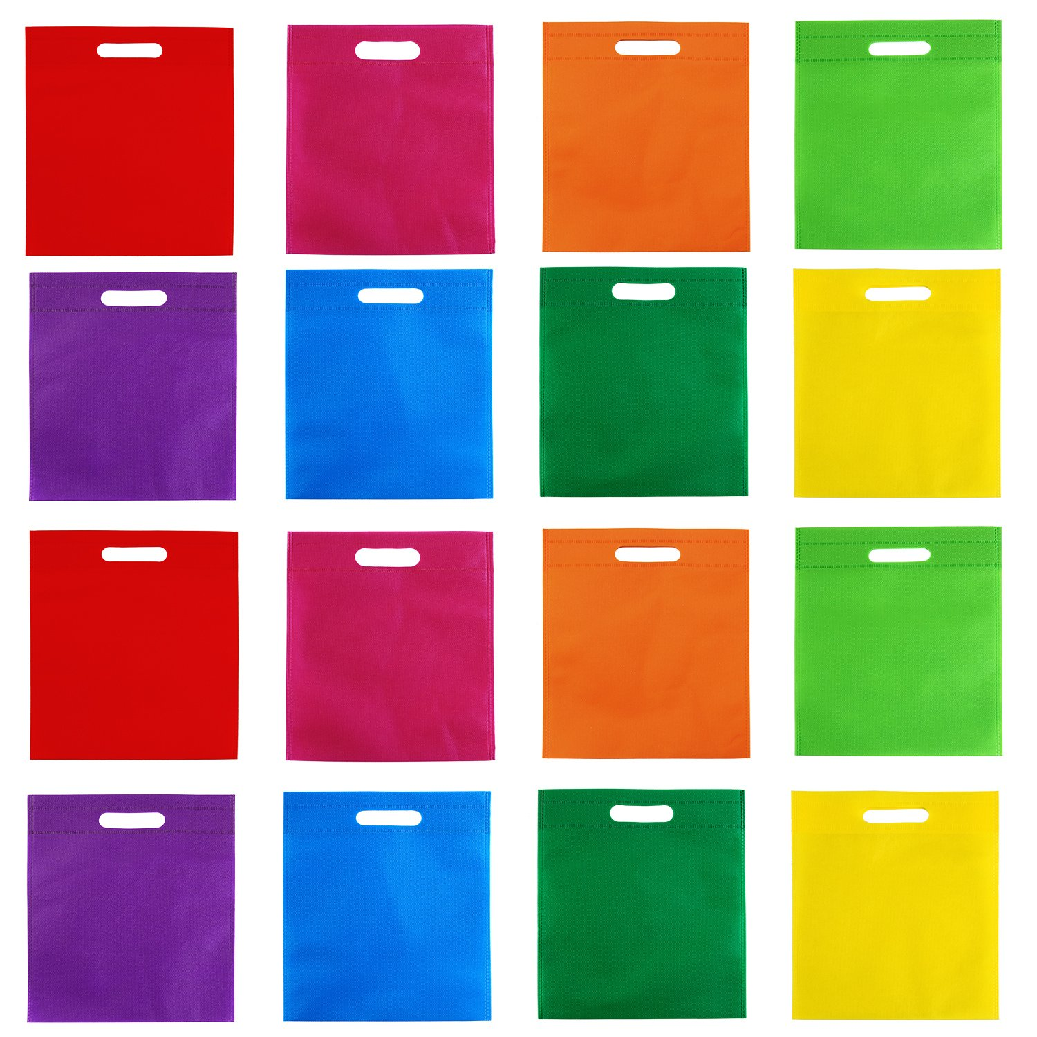 Aneco 40 Pieces 10 12 inches Poly Non-Woven Bags Party Gift Tote Bag Handles Goodie Rainbow Colors Treat Bag Party Favors,8 Colors