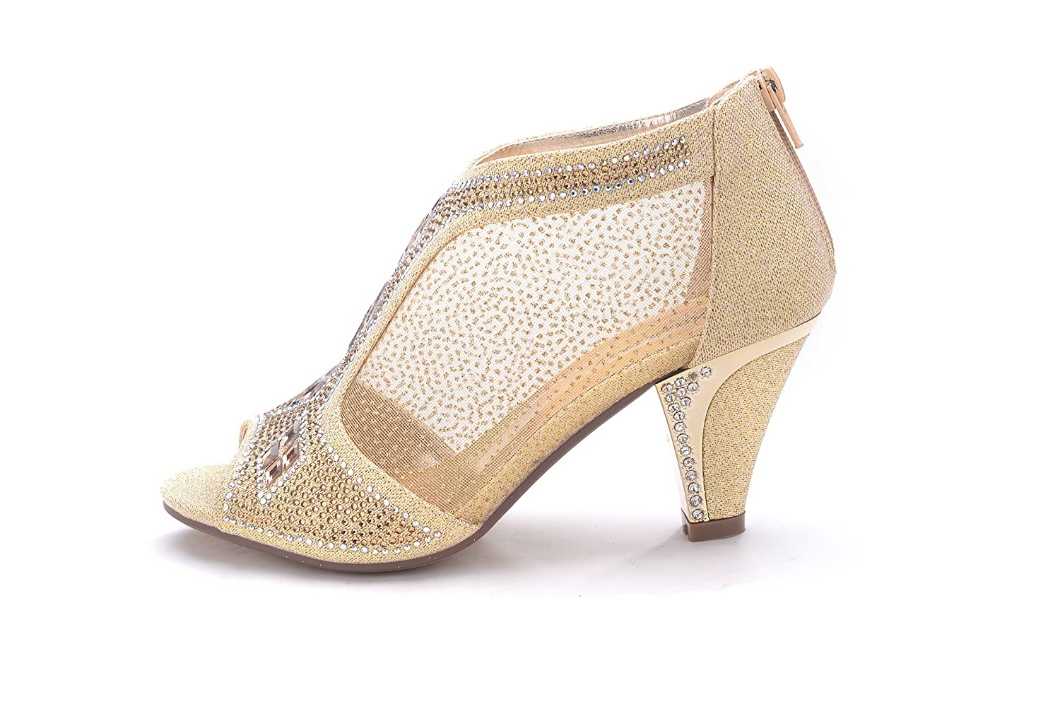 29339993f3c75 Ashley A Collection Women's Lexie Crystal Dress Heels Low Heels Wedding  Shoes A-KIMI-26