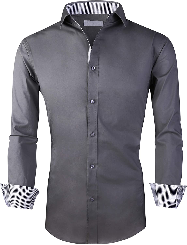 Esabel.C Men's Dress Shirts Long Sleeve Regular Fit Business Casual Button Down Shirts
