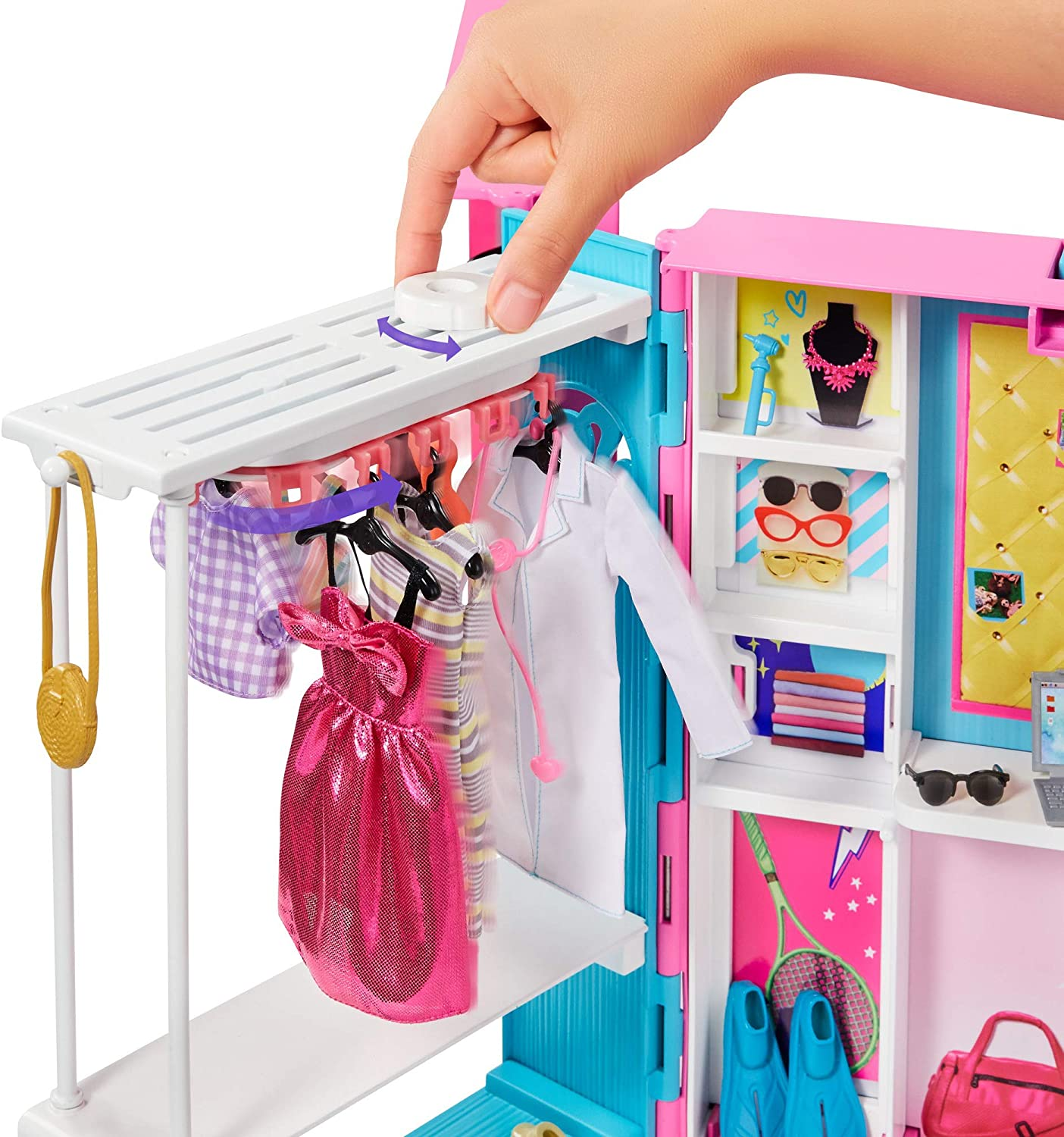 Customizable Desk Space and Rotating Doll Clothes Rack Barbie Dream Closet with 30+ Pieces Full-Length Mirror Toy Closet Expands to 2+ ft // 60+ cm Wide /& Features 10+ Storage Areas